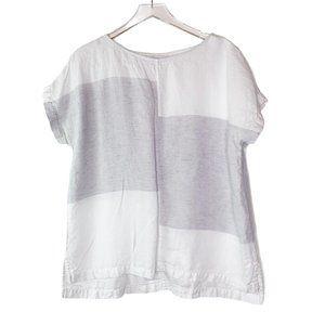 Pure Jill Linen Top Short Sleeve Sz LP White Gray